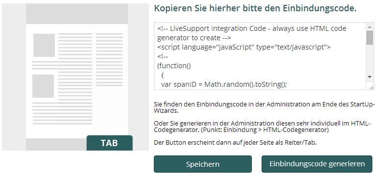 Einbindungscode im Plugin: Einbindung in die komplette Webseite