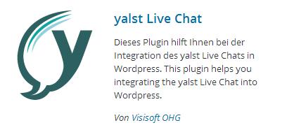 yalst Live Chat-Eintrag im WordPress-Plugin-Verzeichnis
