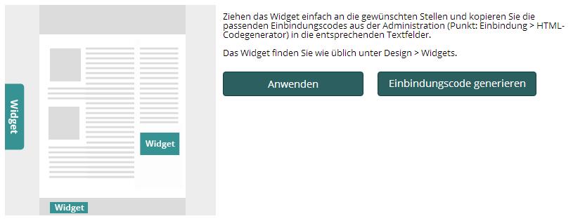Beschreibung der Widget-Funktionalität im Plugin