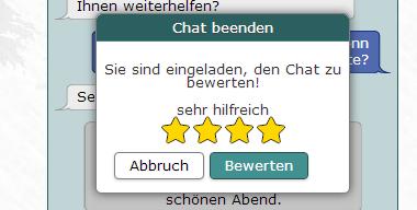 Die Chatbewertung im Tab-Chat