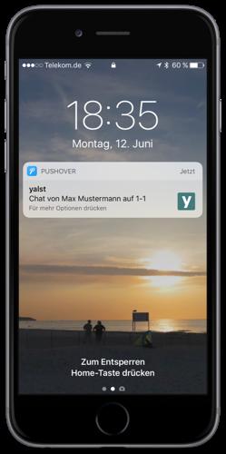 iPhone mit Chat-Alarmierung