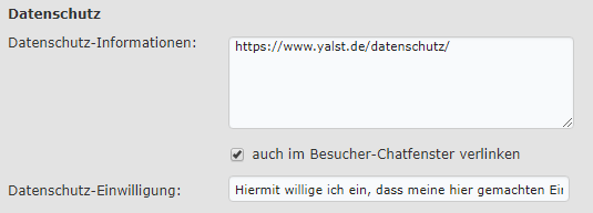 Datenschutz-Grundverordnung (EU-DSGVO) im yalst Live Chat - Datenschutzeinstellungen