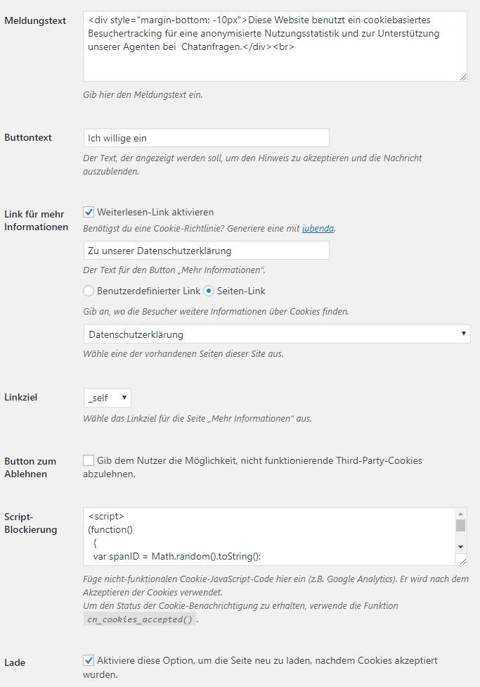 Das yalst-LiveSupportTool und die EU Datenschutz-Grundverordnung DSGVO - Cookie Notice