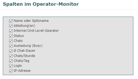 Auswahl der Informationen im Operator-Monitor