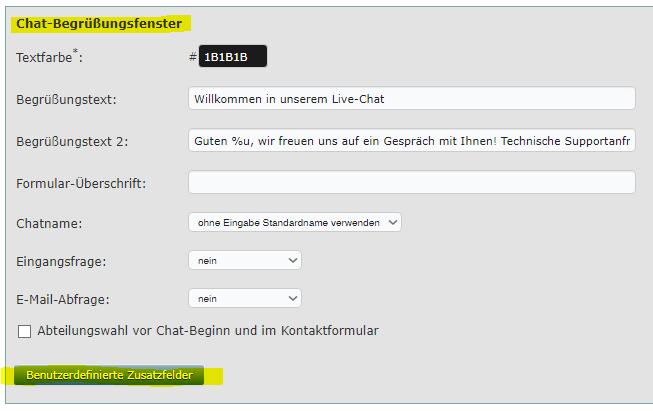 Chat-Begrüßungsfenster