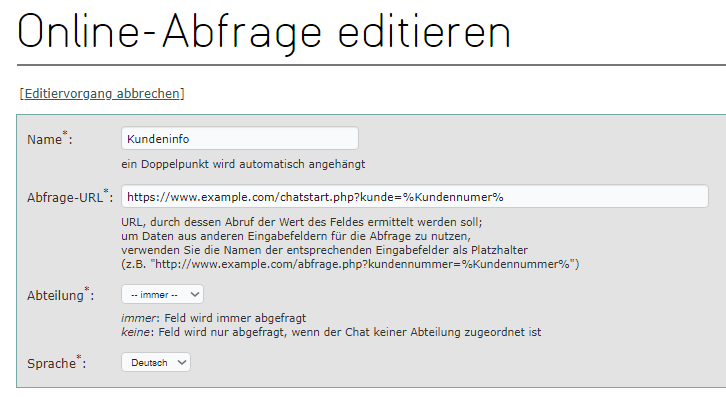 Onlineabfrage