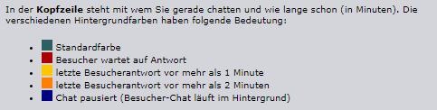 Farben im Operator-Chatfenster
